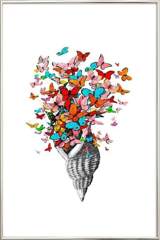 Seashell with butterflies Poster in Aluminium Frame