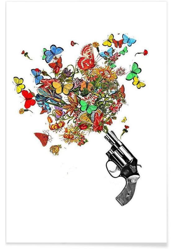 Papillons, Pow!! Flowers!! affiche