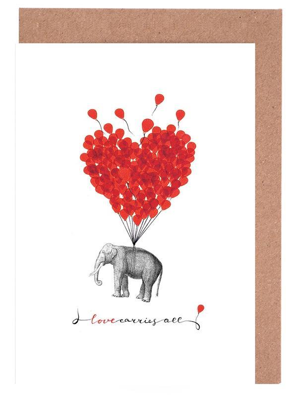 Love carries all - elephant cartes de vœux