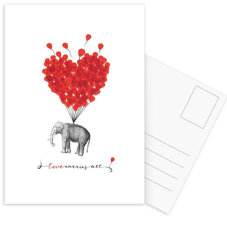 Olifanten, Kunst voor kinderen, Liefdescitaten, Love carries all - elephant ansichtkaartenset