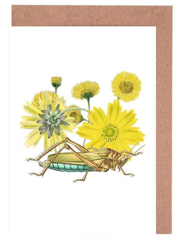 Yellow Flowers and Grasshopper -Grußkarten-Set