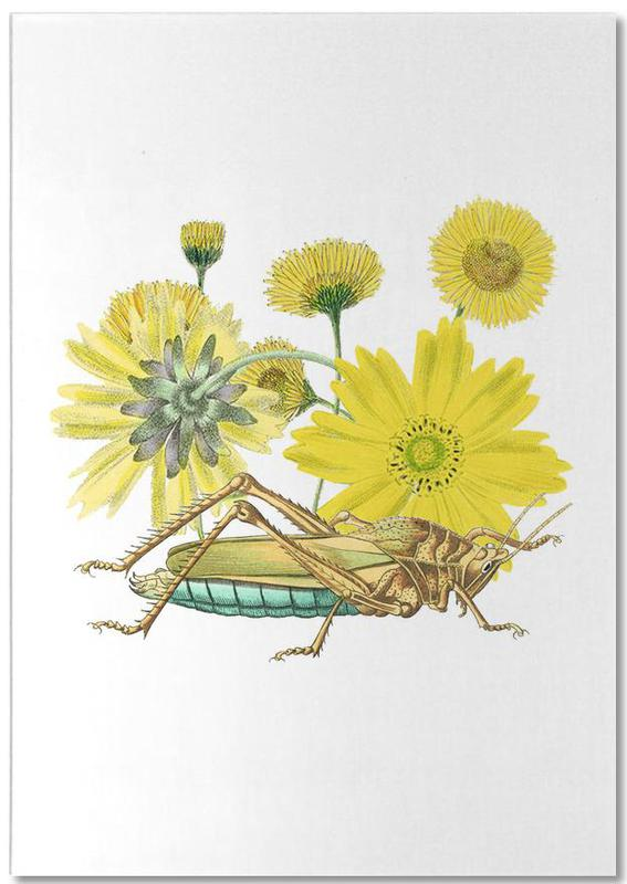 Yellow Flowers and Grasshopper Notepad