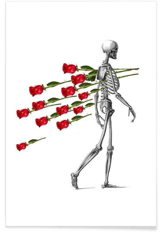 Valentine's Day, Roses, Skeleton & Roses Poster
