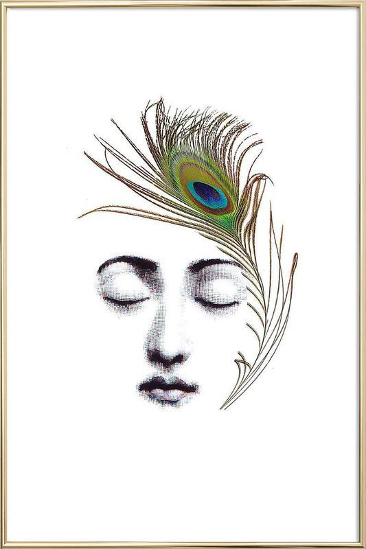 The peacock feather affiche sous cadre en aluminium