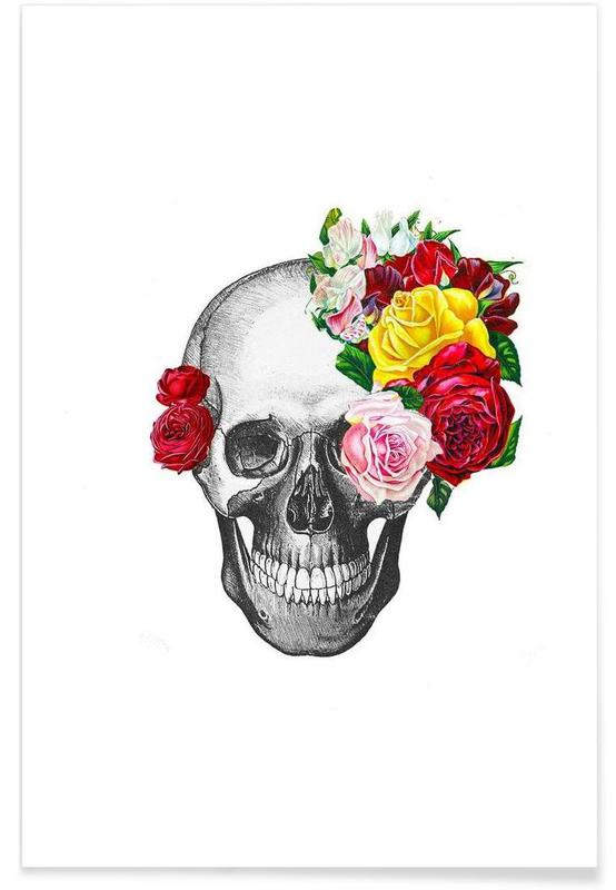 Crânes, Roses, Skull with roses affiche