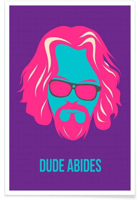 Dude Abides Purple Poster poster