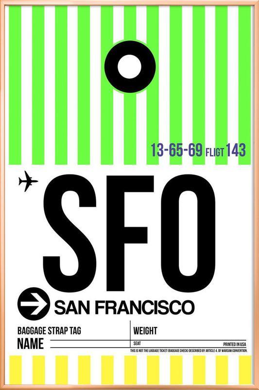 SFO-San Francisco affiche sous cadre en aluminium