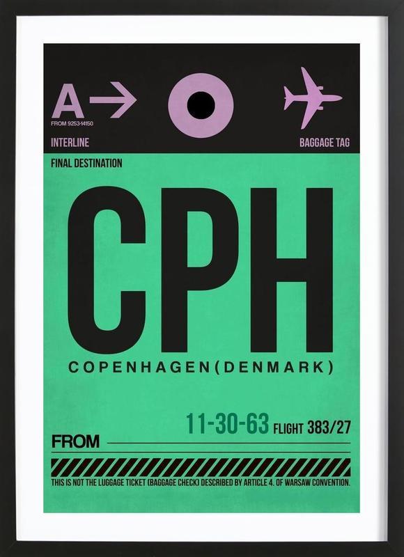 CPH-Kopenhagen -Bild mit Holzrahmen