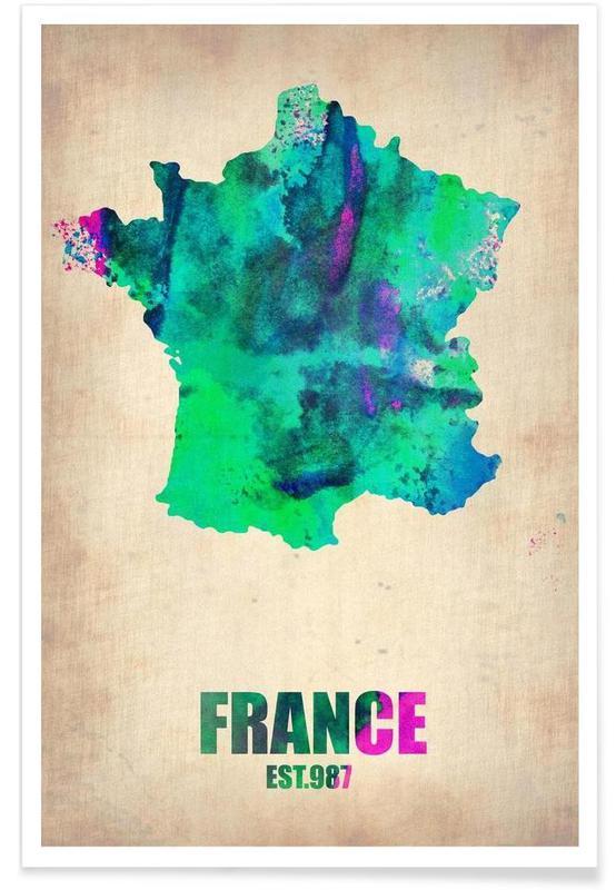 Voyages, Cartes de pays, France - Carte en aquarelle affiche