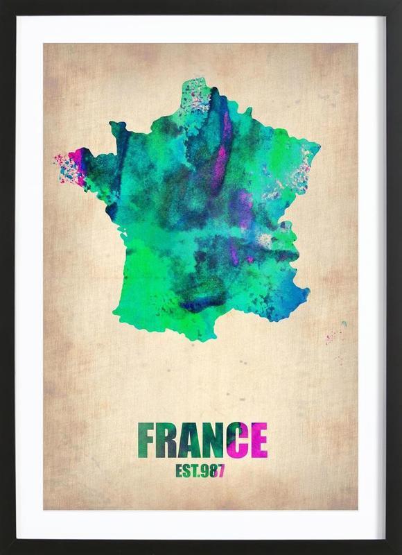 France Watercolor Map ingelijste print