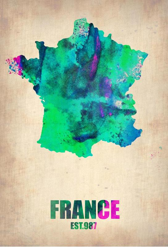 France Watercolor Map alu dibond