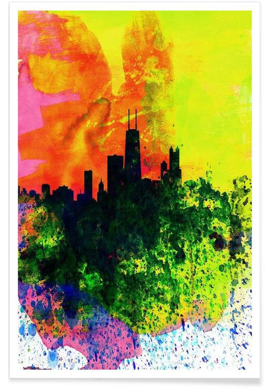 Chicago Watercolor Skyline -Poster