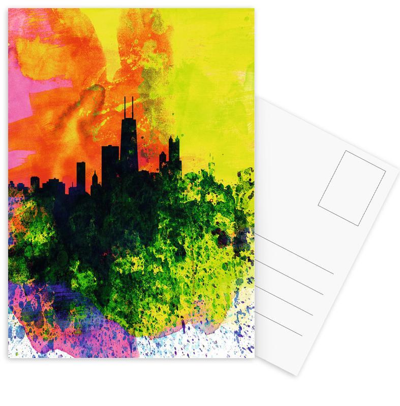 , Chicago Watercolor Skyline ansichtkaartenset