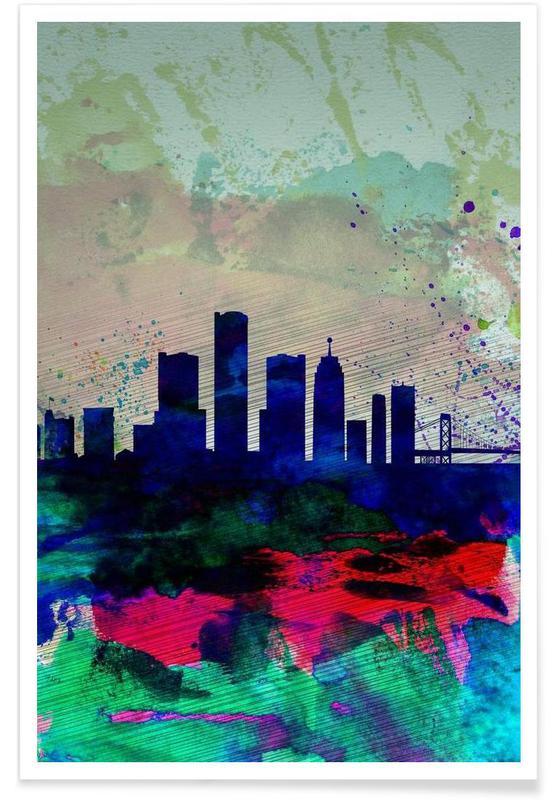 , Detroit Watercolor Skyline affiche