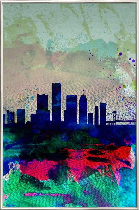 Detroit Watercolor Skyline Poster in Aluminium Frame
