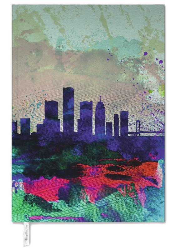 Detroit Watercolor Skyline Personal Planner