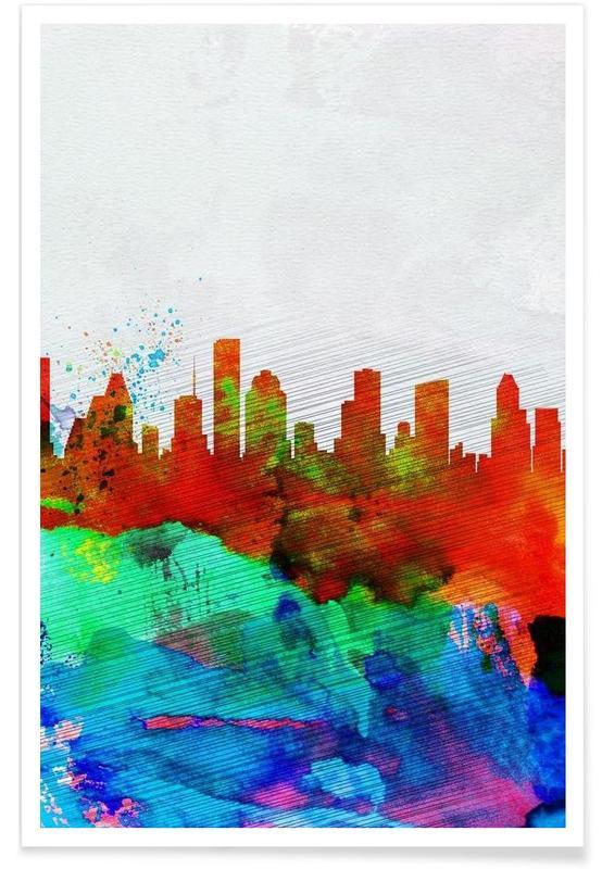 Houston Watercolor Skyline affiche