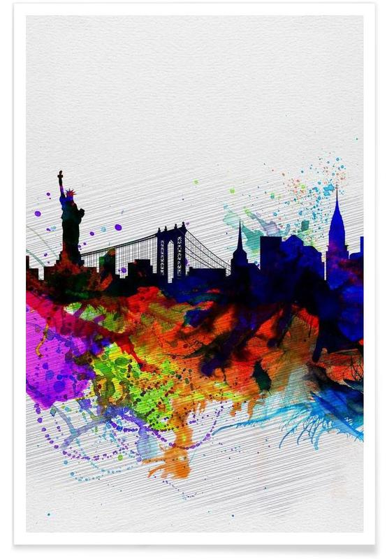 New York  Watercolor Skyline 1 affiche