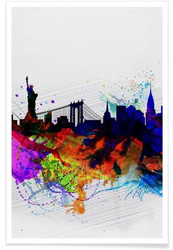 New York, New York  Watercolor Skyline 1 affiche