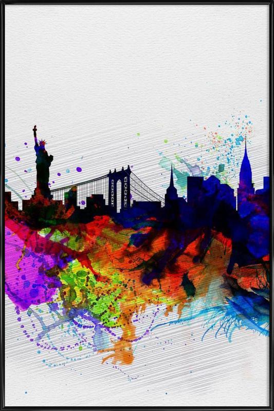 New York  Watercolor Skyline 1 Framed Poster