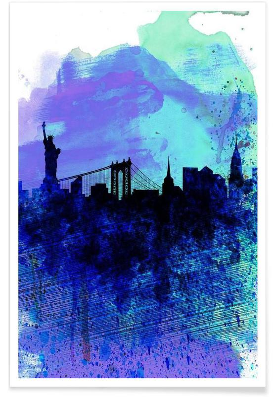 New York  Watercolor Skyline 2 -Poster