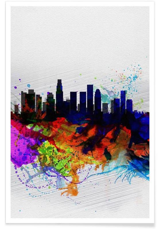 Los Angeles, Los Angeles  Watercolor Skyline 2 affiche
