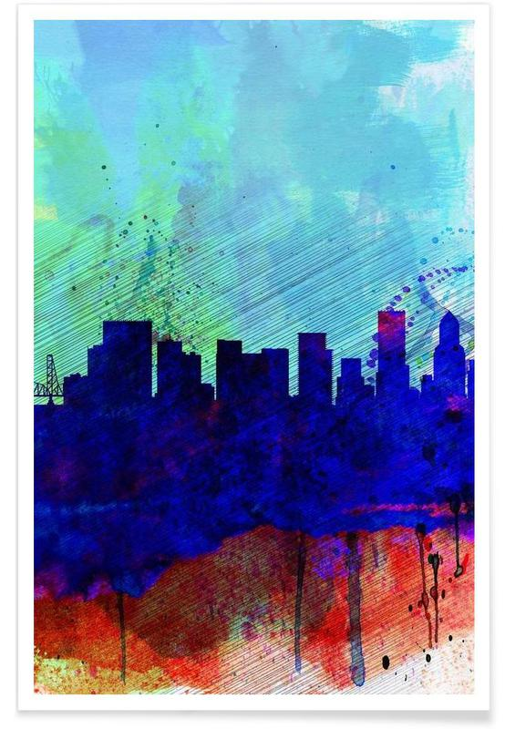 Portland Watercolor Skyline affiche