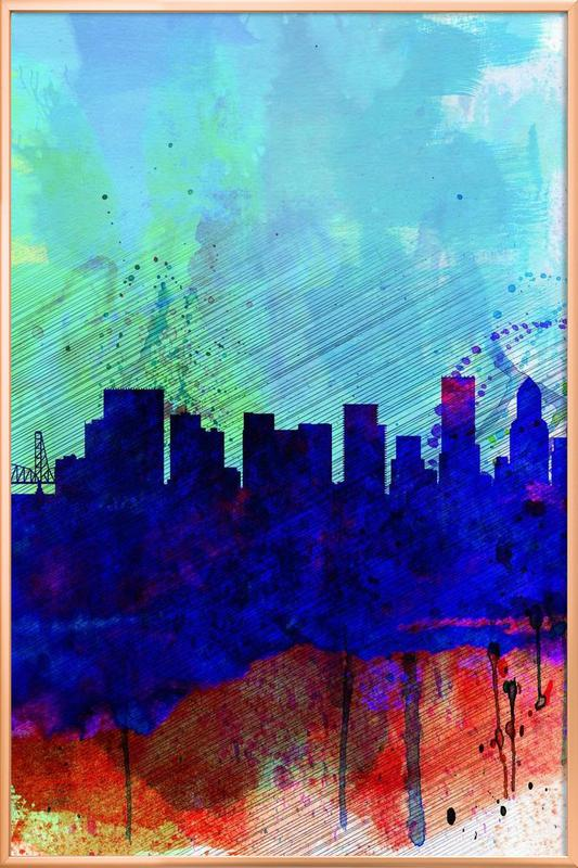 Portland Watercolor Skyline Poster in Aluminium Frame
