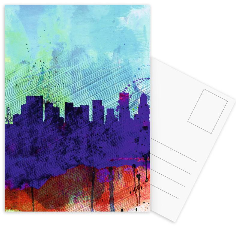 , Portland Watercolor Skyline ansichtkaartenset