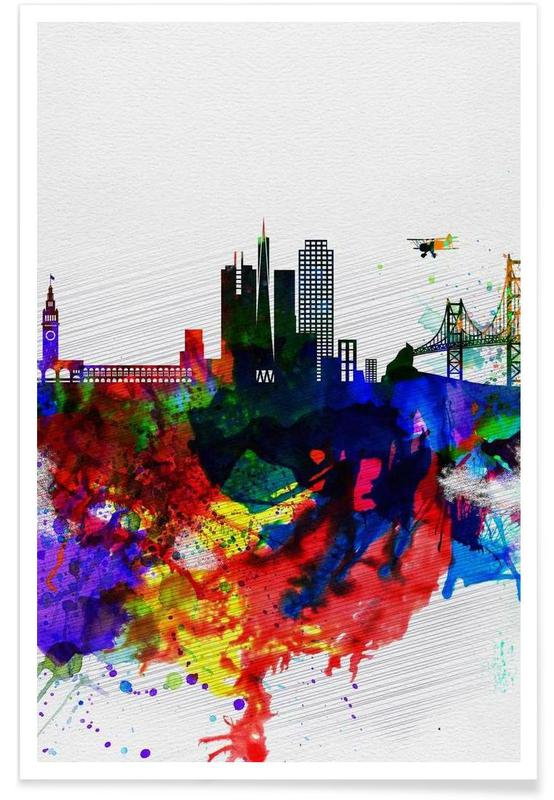San Francisco, San Francisco Watercolor Skyline 1 affiche