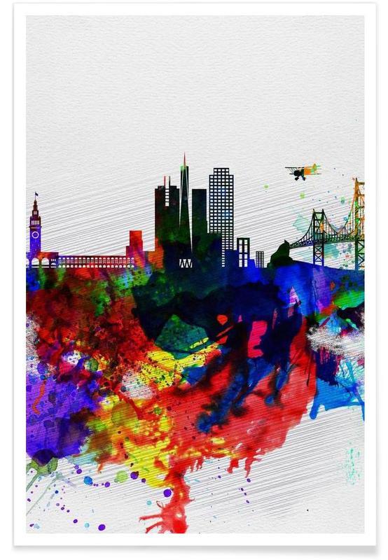 San Francisco, San Francisco Watercolor Skyline 1 poster