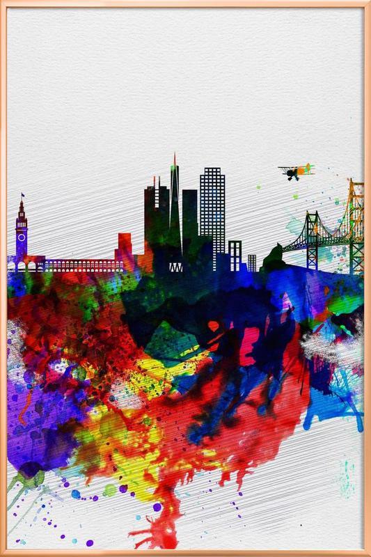 San Francisco Watercolor Skyline 1 Poster in Aluminium Frame