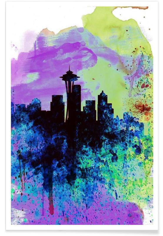 , Seattle Watercolor Skyline 1 affiche
