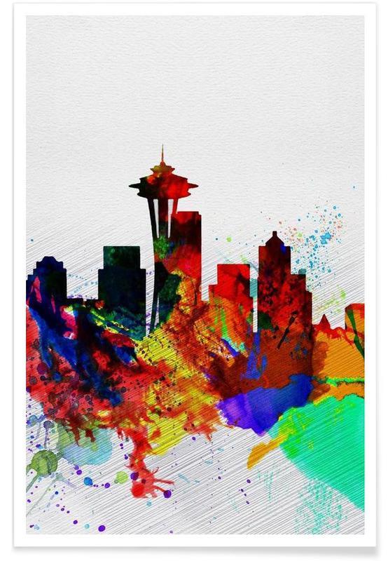 , Seattle Watercolor Skyline 2 affiche