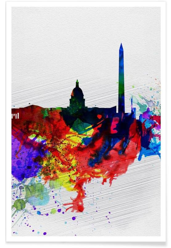 Washington DC Watercolor Skyline 1 affiche