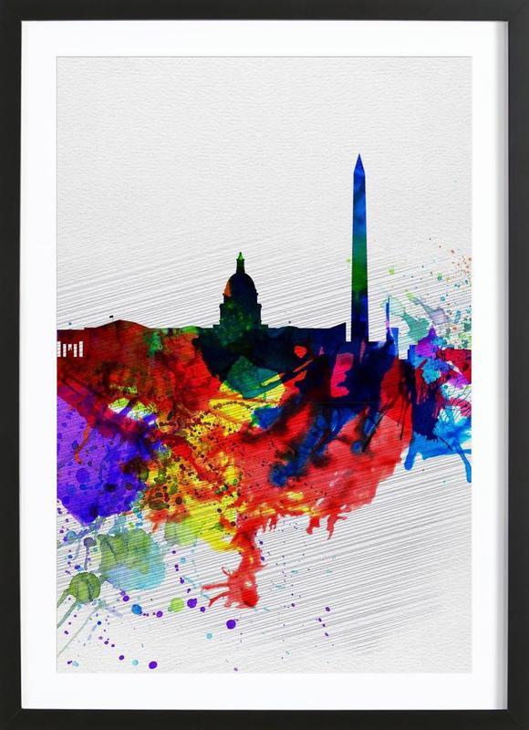 Washington DC Watercolor Skyline 1 Framed Print