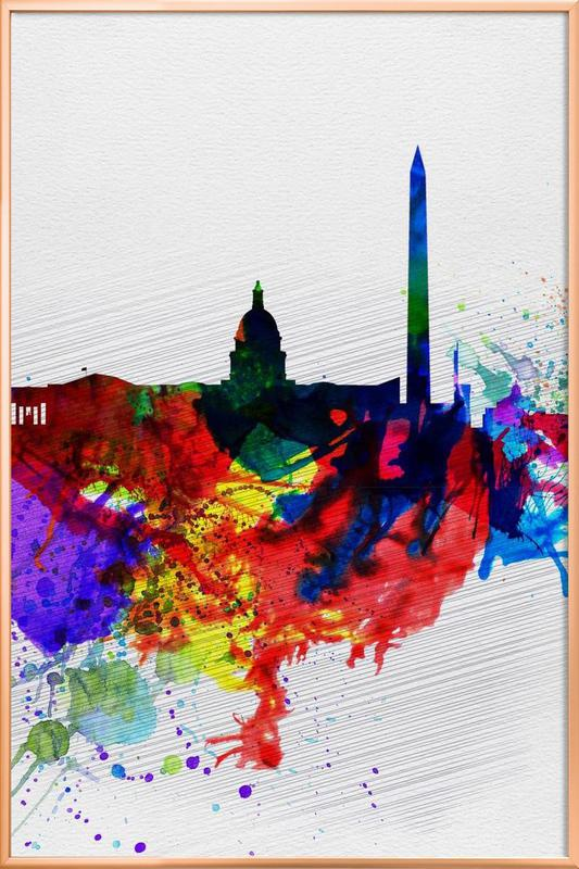 Washington DC Watercolor Skyline 1 Poster in Aluminium Frame