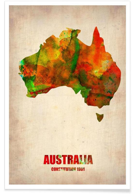 Australia Watercolor Map Poster
