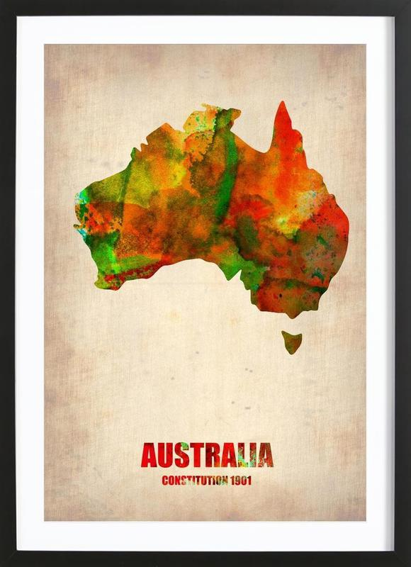 Australia Watercolor Map Framed Print