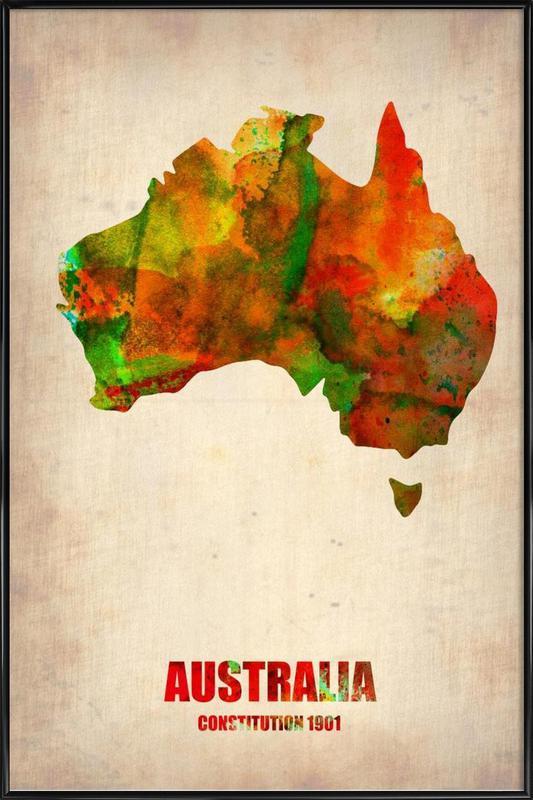 Australia Watercolor Map Framed Poster
