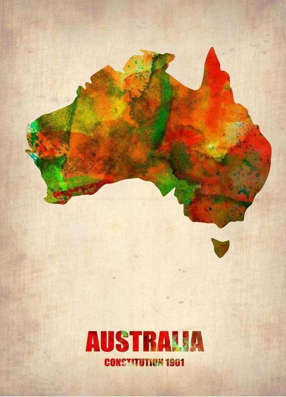 Australia Watercolor Map -Leinwandbild
