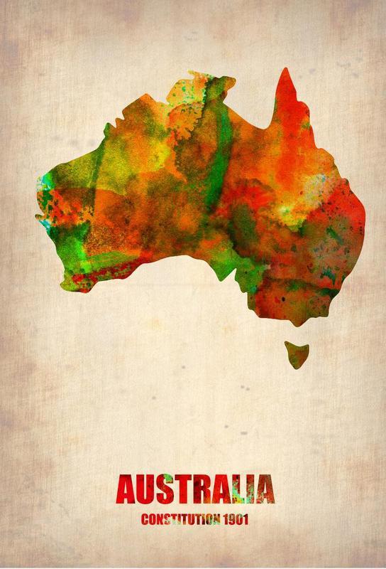 Australia Watercolor Map -Acrylglasbild