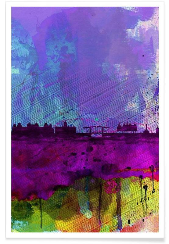 Amsterdam Watercolor Skyline poster