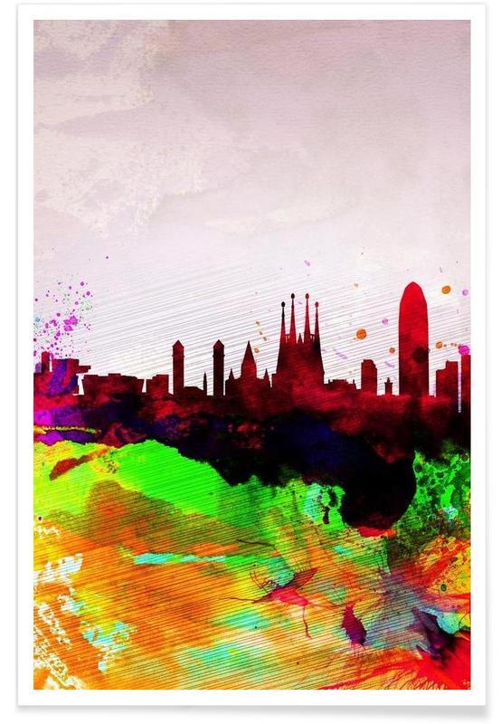 Barcelone, Barcelona Watercolor Skyline affiche