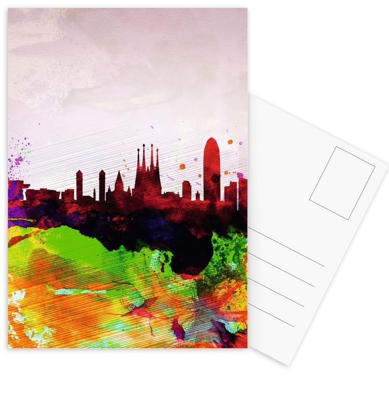 Barcelona Watercolor Skyline -Postkartenset