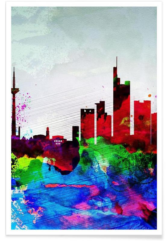 Frankfurt Watercolor Skyline -Poster