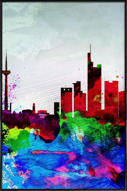 Frankfurt Watercolor Skyline Framed Poster