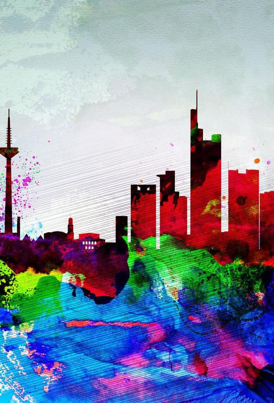 Frankfurt Watercolor Skyline Aluminium Print