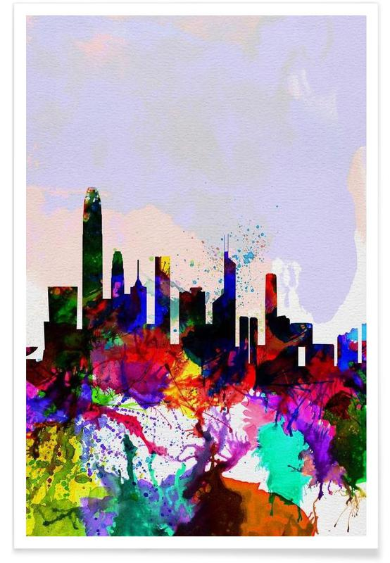 Hong Kong Watercolor Skyline -Poster