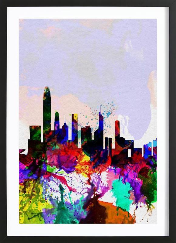 Hong Kong Watercolor Skyline Framed Print
